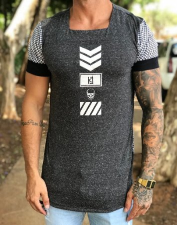 70c75eb691 Camiseta Longline Detalhe Xadrez - King Joy - Imperium Store ...