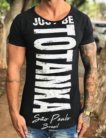 Camiseta Longline Just Be Black - Totanka