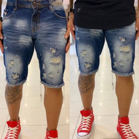 Bermuda Jeans Destroyed Escuro Used - Degrant