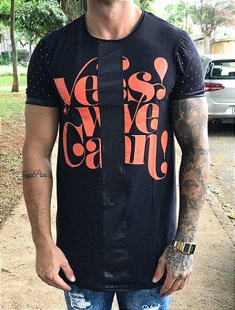 Camiseta Longline Escrita Lateral Laranja - King Joy