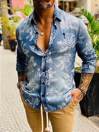 Camisa Social M/L Jeans Flowers - Zip Off