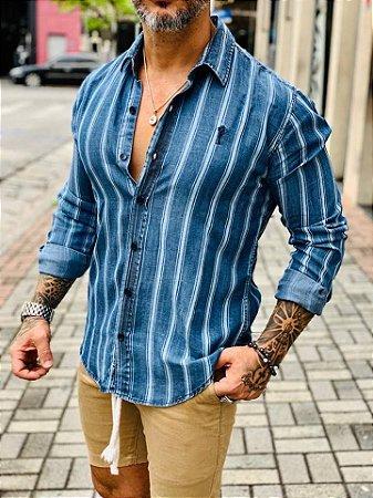 Camisa Jeans M/L Listrada - Zip Off