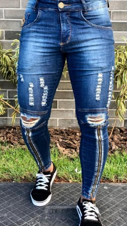 Calça Jeans Skinny Destroyed C/Zíper Dark - Codi Jeans