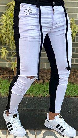 Calça Black White Skinny Rasgo Joelho & Corda - Codi Jeans
