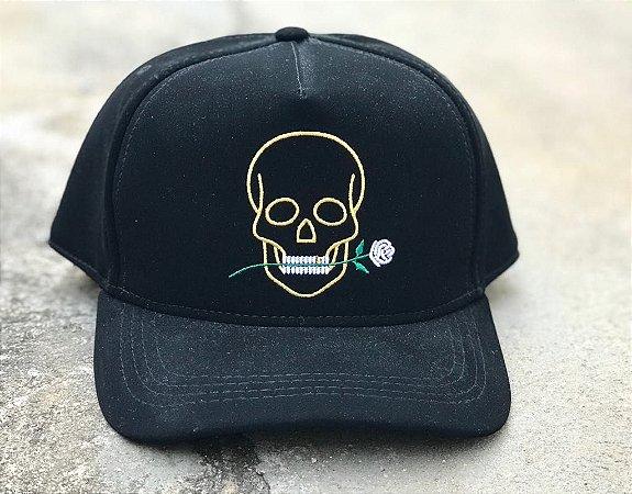 Boné Snapback Skull Rose Black - Totanka