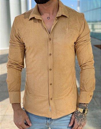 Camisa Manga Longa Suede Caramelo - Zip Off