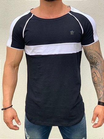 Camiseta Longline Black Faixa Viés - Kawipii