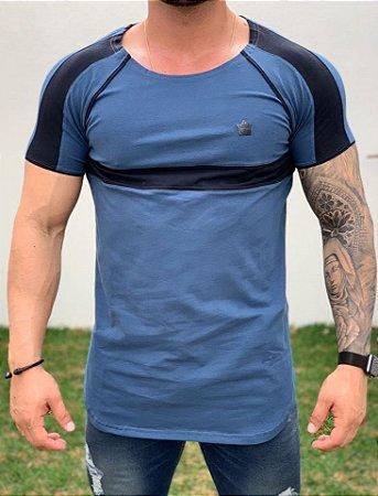 Camiseta Longline Azul Faixa Viés - Kawipii