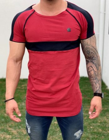 Camiseta Longline Red Faixa Viés - Kawipii