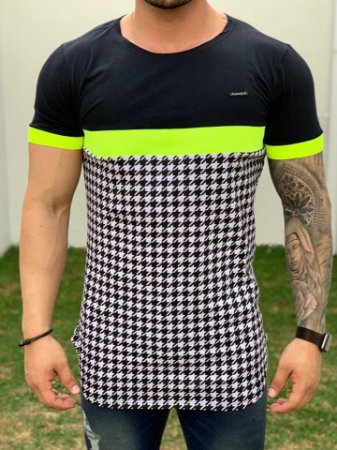 Camiseta Longline Faixa Neon Verde - Kawipii