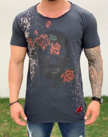 T-Shirt Long Skull And Roses Manchas - John Jones