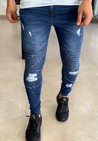 Calça Jeans Skinny Destroyed & Biker - John Jones