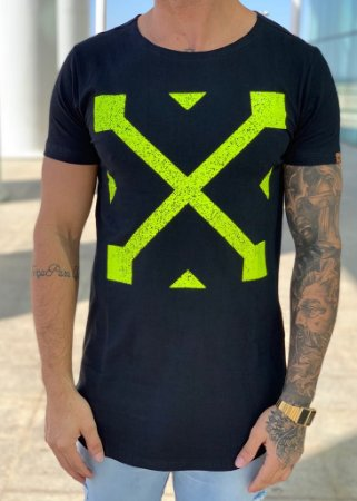 Camiseta Longline Black Green Off KWP - Kawipii