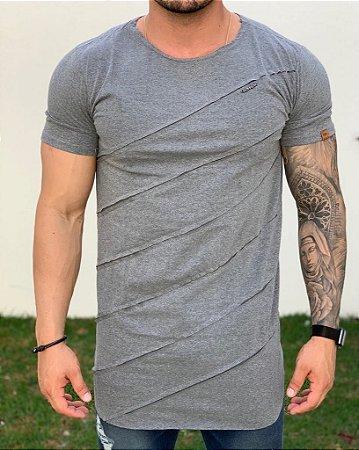 Camiseta Longline Grey Recorte - Kawipii