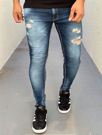 Calça Jeans Skinny Destroyed Médio - Creed Jeans