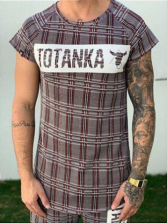 Camiseta Longline Raglan Xadrez - Totanka