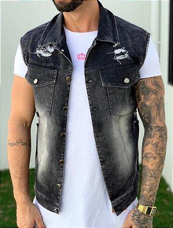 Colete Jeans Black Destroyed - Exalt Urban