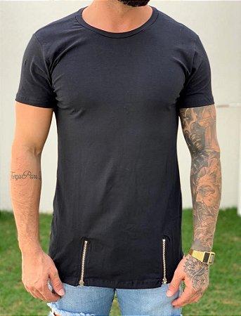 Camiseta Longline Black C/ Ziper - lacapa