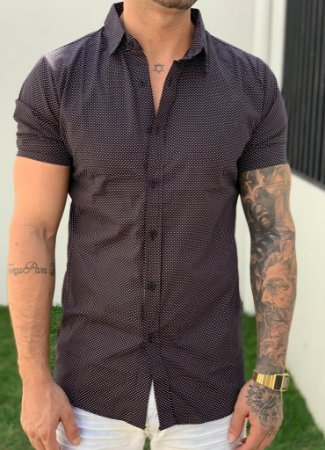 Camisa Manga Curta Black Points - Grace