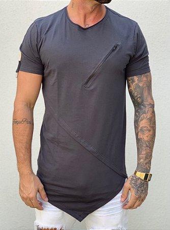 Camiseta Longline Black Recorte e Ziper - King Joy