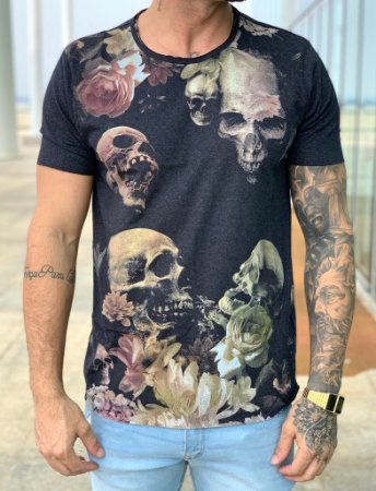 T-shirt Grey Dark Caveiras - Derekho