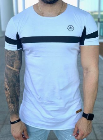 Camiseta Longline White Stripes Black - Kreta