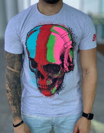 T-shirt Grey Skull Multcolors - Bulldog Fish