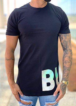 Camiseta Longline Foil Preto - Buh