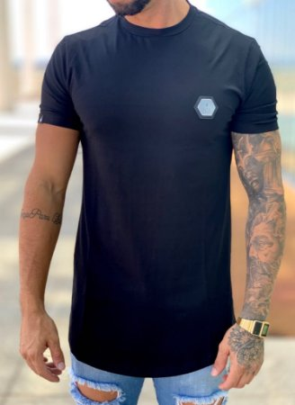 Camiseta Longline Basica Placa Preto - Buh