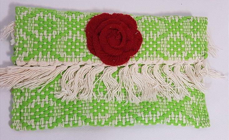 Carteira em tear verde verão rosa vermelha