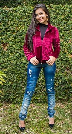 Jaqueta em veludo molhado
