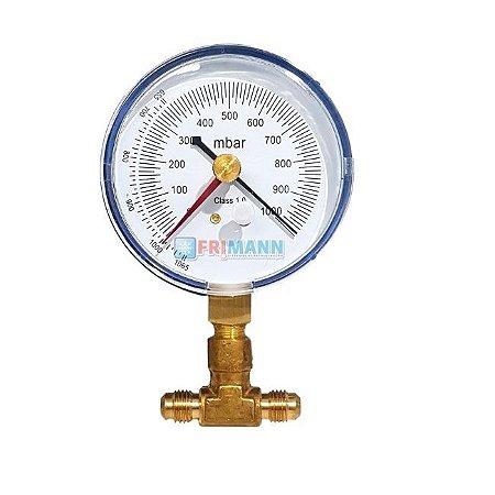 Kit Vacuômetro Analógico Para Refrigeração e Ar Condicionado + T