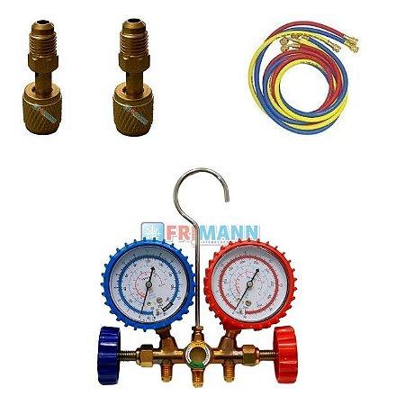 Manifold Ar Split R22 R404a R134a R12 + 2 Adaptador R410