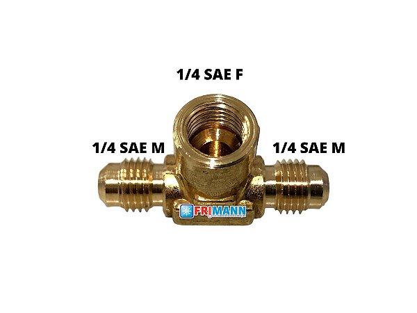 T Refrigeração 1/4 M x 1/4 M x 1/4 F SAE
