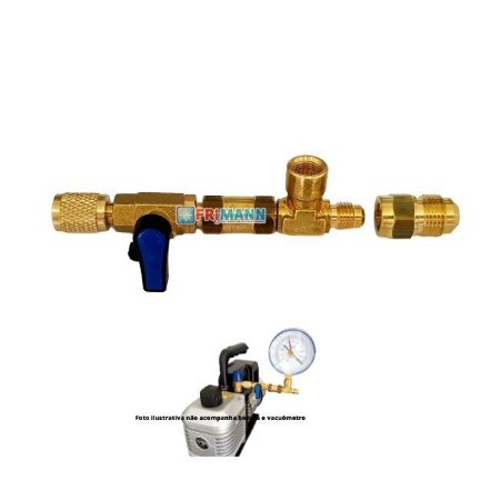 Adaptador Bomba Vácuo E Vacuômetro Refrigeração Analógico