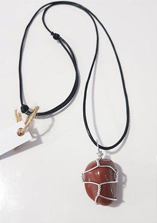 Colar artesanal jaspe vermelho
