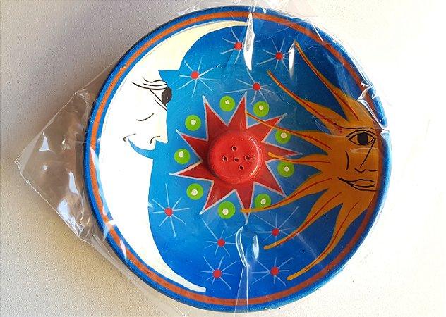 Incensário sol e Lua-  G azul