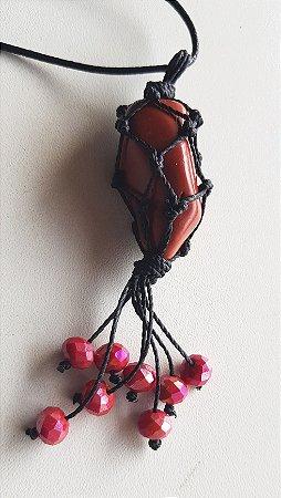 Colar artesanal Jaspe Vermelho - penduricalhos