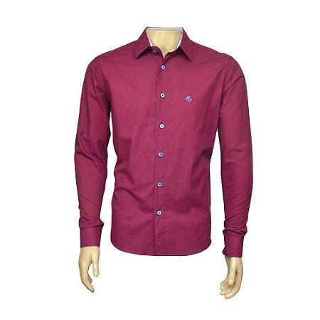 Camisa Slim Masculina Vinho Maquinetada