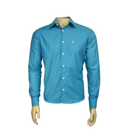 Camisa Slim Masculina Azul Maquinetada