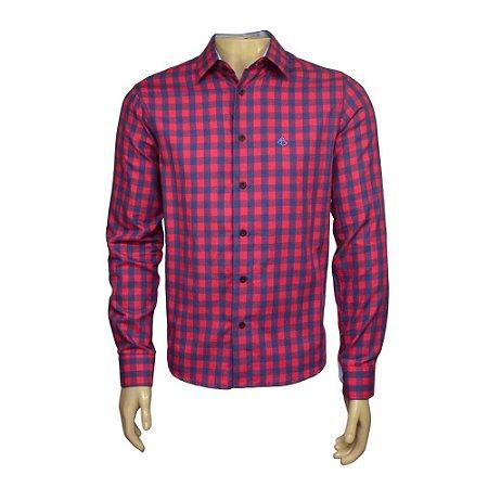 Camisa Slim Masculina Vermelha Xadrez