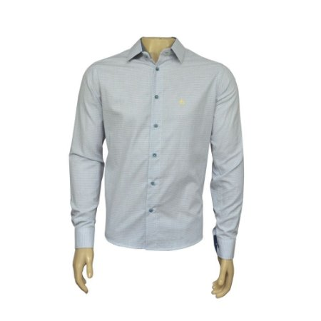 Camisa Slim Masculina Cinza Claro Maquinetada