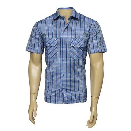 Camisa Sport Masculina Xadrez Azul