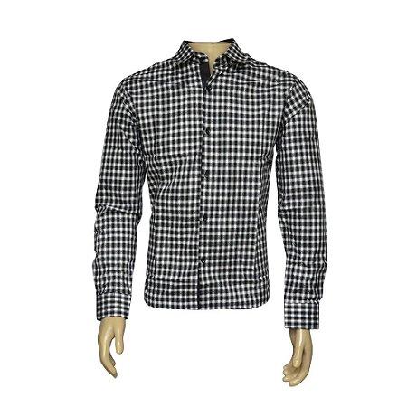 Camisa Slim Masculina Preta Xadrez