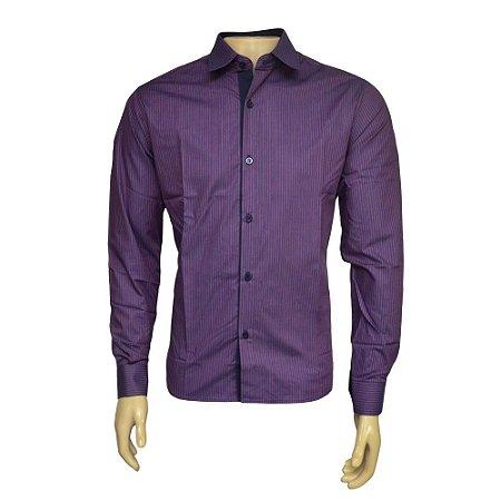 Camisa Slim Masculina Roxa Listrada