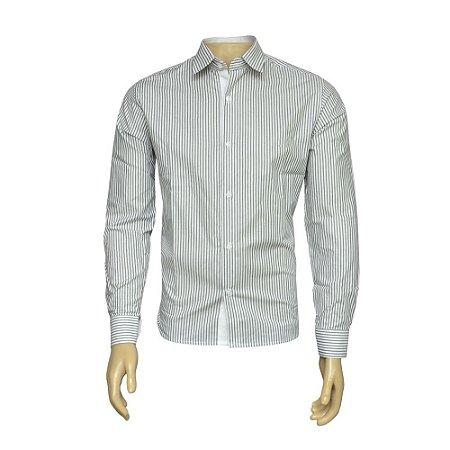 Camisa Slim Masculina Preta Listrada