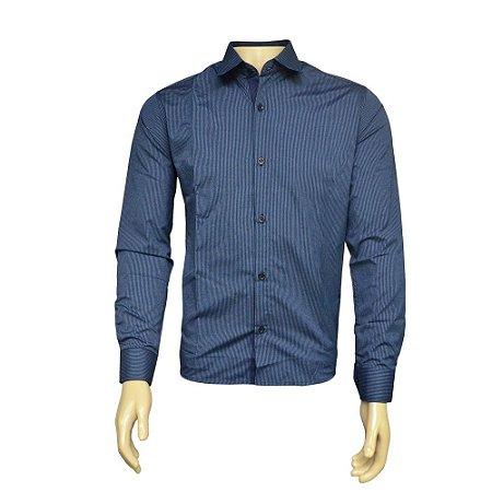 Camisa Slim Masculina Azul Listrada