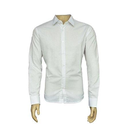 Camisa Slim Masculina Branca Maquinetada