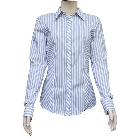 1030cd78dd Camisa Social Feminina Azul Listrada - Manga Longa - Camisaria Bormag