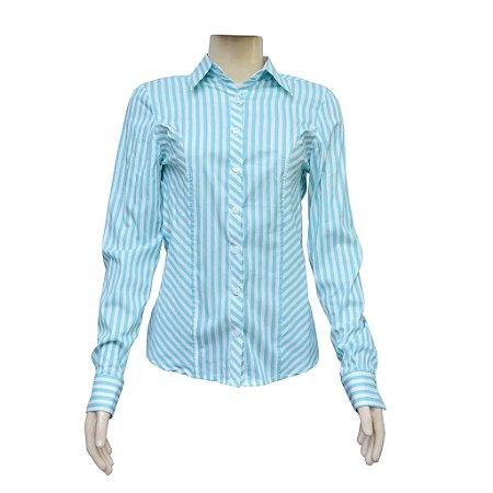 Camisa Social Feminina Verde Listrada